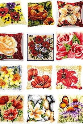 """Vervaco Latch Hook Cushion Front Kit 16"""" x 16"""" inches - FLOWERS"""