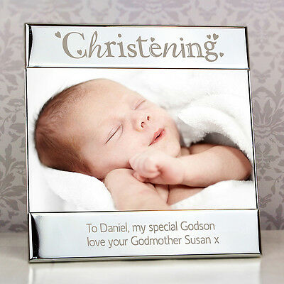 Personalised Engraved Silver Christening Square 6x4 Photo Frame Gift Idea