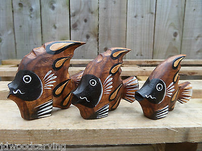 Fair Trade Hand Carved Made Wooden Tropical Angel Fish Set Of 3 Statue Ornaments