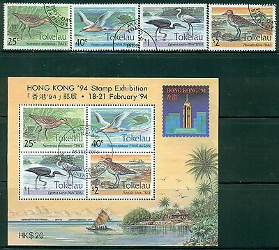 TOKELAU Sc190-93a SG201-04,MS205 Used 1993-94 Birds set of 4+MS SCV$16