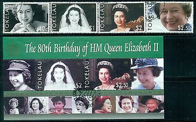 TOKELAU Sc342-46 SG374-77,MS378 Used 2006 QEII 80th Birthday set of 4+MS SCV$17