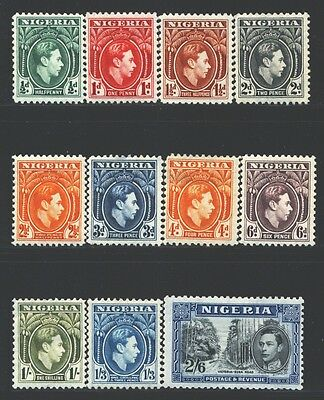 NIGERIA Sc53-63 SG49-58 MH 1938-51 KGVI Defin short set of 11 to 2sh6p SCV$47