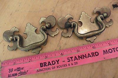 2 Antique Pulls Desk Drawer pull dresser handles Vintage brass & metal 3-3/4""