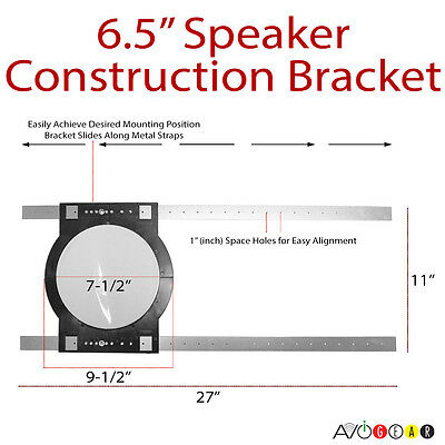 """Two (1 Pair) Universal 6.5"""" In-Ceiling PRE-CONSTRUCTION Rough-in Brackets RIR-6"""