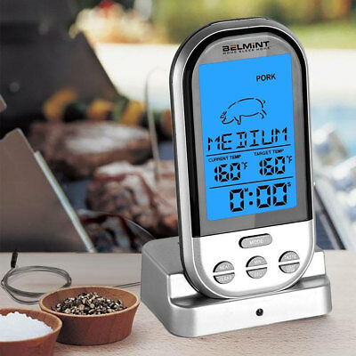 New Wireless LCD Remote Thermometer For BBQ Grill Meat Kitchen Oven Food Cooking