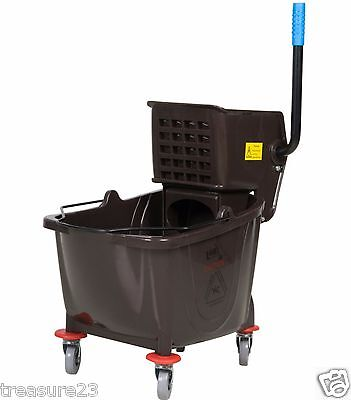Commercial Wet Mop Bucket & Wringer Combo 36 Quart - BLACK - Janitorial