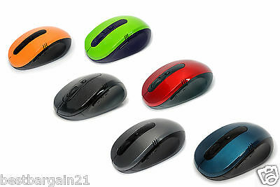 2.4GHz Wireless Cordless Optical Colour Mouse With USB Dongle Computer Laptop PC