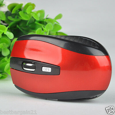 RED 2.4GHz Wireless Cordless Optical Scroll Mouse USB Dongle Computer Laptop
