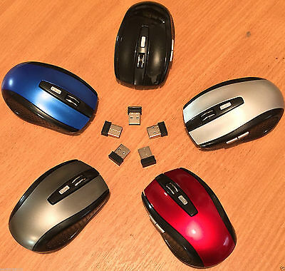 BLUE 2.4GHz Wireless Cordless Optical Scroll Mouse USB Dongle Computer Laptop