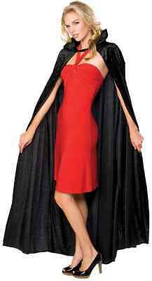 Long Crushed Velvet Cape Black Fancy Dress Up Halloween Adult Costume Accessory