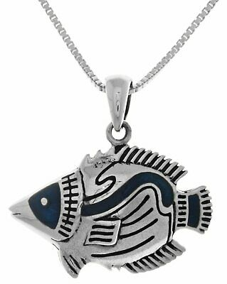 Jewelry Trends Sterling Silver Tropical Fish Pendant with Dark Blue Color on Cha