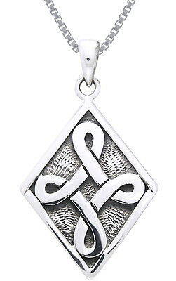 Jewelry Trends Sterling Silver Strength Celtic Knot Pendant on Chain Necklace