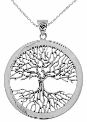 Jewelry Trends Sterling Silver Large Celtic Tree of Life Pendant on Box Chain