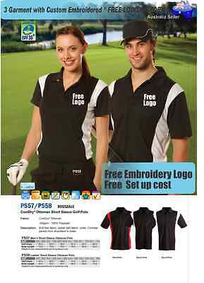 3 Custom Golf  Polo shirts with Your Embroidered * FREE YOUR  LOGO UNIFORMS *