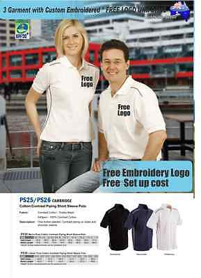 3 Custom Golf  Polo shirts with Your Embroidered  FREE  LOGO UNIFORMS  WORK TEAM