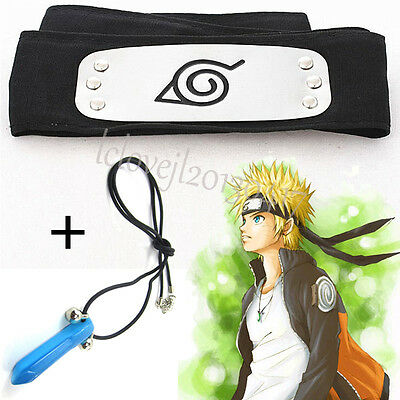 Anime Cosplay Naruto Kakashi Sasuke Leaf Village Konoha Ninja Headband+Necklace