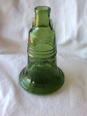 Vintage Green Liberty Bell Bottle by Wheaton, NJ Very Cool MCM Kitsch!
