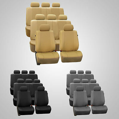 3 Row Car Seat Covers Faux Leather Luxury Top Quality for Minivan SUV