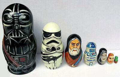 Star Wars Darth Vader Stormtrooper Matryoshka Handmade Wooden Nesting Dolls 7pc