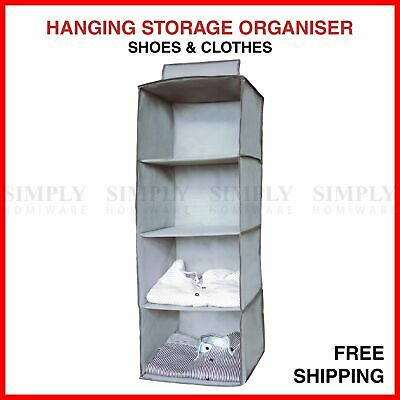Hanging Clothes Shirt Storage Organiser Shelf Cabinet Wardrobe Closet Hanger