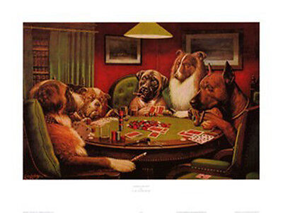 A Bold Bluff Dogs Playing Poker Coolidge Print Poster Poster 25x19