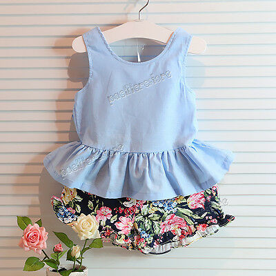 Toddler Infant Kids Baby Girls Outfits T-shirt Tops Dress+Pants 2PCS Set Clothes