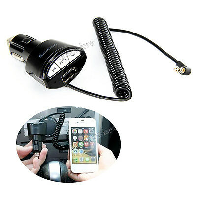 3.5mm Car USB Charger A2DP Handsfree Bluetooth AUX Stereo Audio Receiver Adapter