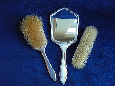 Vintage English Sterling Silver Dressing Table Set Mirror And Brushes