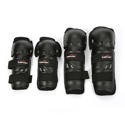 Motorcycle Racing Rider Elbow & Knee Pads Armor Guards Protective Gear Black