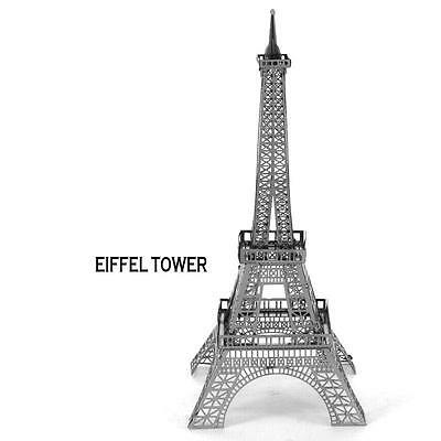 3D Metal Puzzle Eiffel Tower Silver DIY Kit Architecture Laser Cut