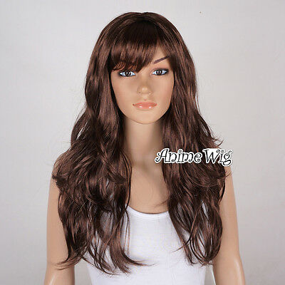 New Long 60cm Party Wig Cosplay Brown Women Anime Hair Curly Ladies Full Wig