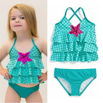 Baby Girls Merimaid Swimwear Bikini Swimsuit Bathing Suit Swimming Clothes 2-7Y