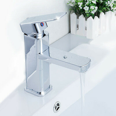 Modern Style Basin Mixer Tap Single Lever Chrome Bathroom Sink Faucet UK