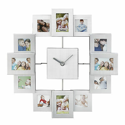 VonHaus Brushed Silver Aluminum Multi Picture Aperture Family Photo Frame Clock