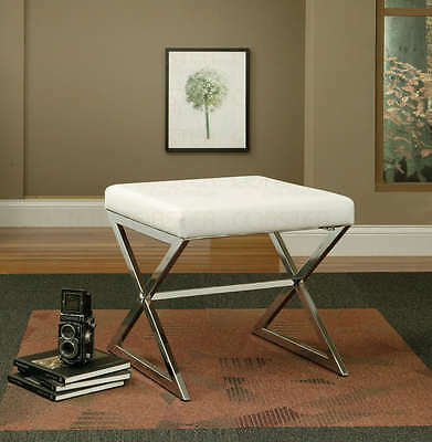 White Faux Leather Ottoman Stool with Metal Base by Coaster 501063