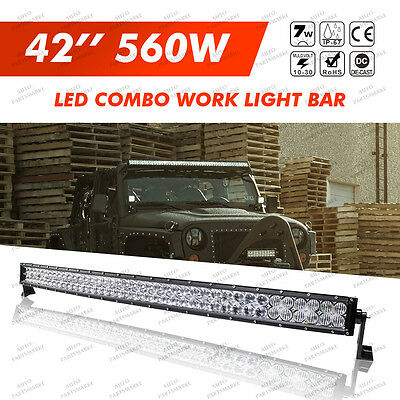 5D CREE Curved LED Light Bar Spot Flood Combo 42INCH 560W Offroad Driving 4X4WD