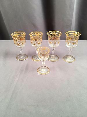 4 + 1  AntQ Hand Painted St Louis Massenet Gold Encrusted Stems 2oz & Shot