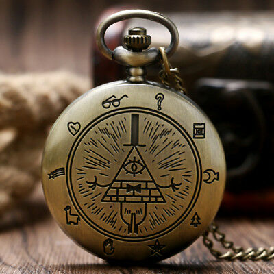 Free-Mason Eye of Providence Pocket Watch Necklace Pyramid Pattern Full Hunter