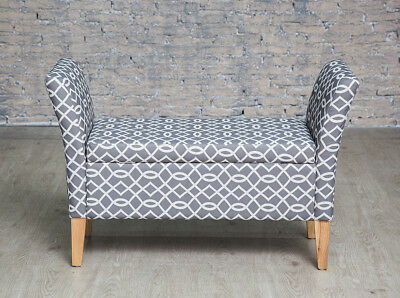 Grey Patterned Upholstered Storage Bench with Arms Bedroom Storage