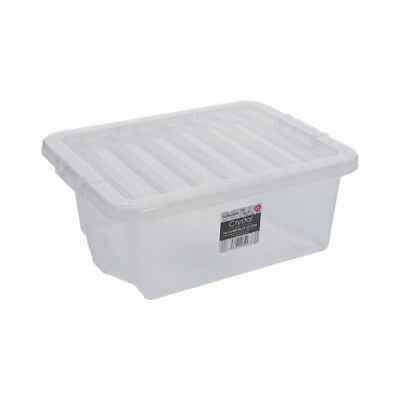 Clear Plastic Storage Box 16 Ltr, Litre/ Handy Stacker Box Contanier & Lid