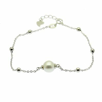 Sterling Silver Bracelet with Single Pearl Gift Pouch