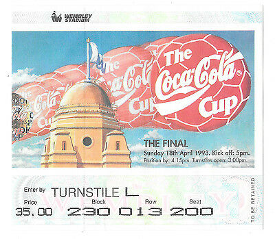 1993 - Arsenal v Sheffield Wednesday, League Cup Final Match Ticket.