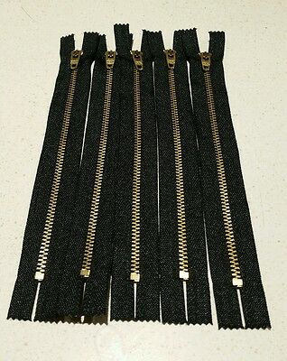 Lot Of 5 Ideal 7.5 Inch Closed End Zippers Black