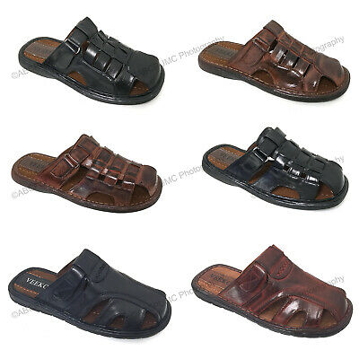 ae344056e80 Mens Slides Sandals Closed Toe Hook and Loop Flip Flops Casual Fisherman  Slipper