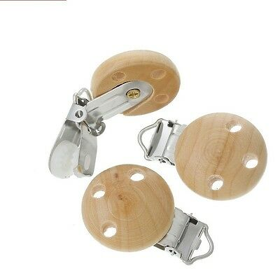 5pcs Wood Baby Pacifier Holder Clip Round Natural Wood color 47mm x 29mm