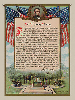 The Gettysburg Address Vintage Reproduction Lincoln Civil War Print Poster 18x24