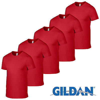Red 1 5 10 20 Pack Mens Blank Gildan Plain Cotton Tshirt T Shirt Tee Summer Lot