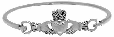 Jewelry Trends Sterling Silver Irish Heart In Hands Claddagh Bangle Bracelet