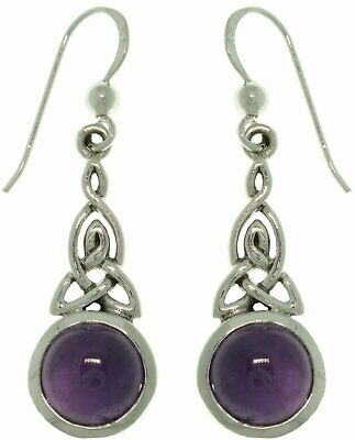 Jewelry Trends Sterling Silver Amethyst Celtic Triquetra Knot Earrings - Pair of