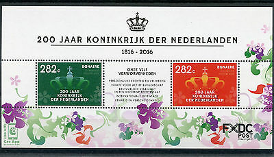 Dutch Caribbean Bonaire 2016 MNH Kingdom of Netherlands 200 Years 2v M/S Stamps